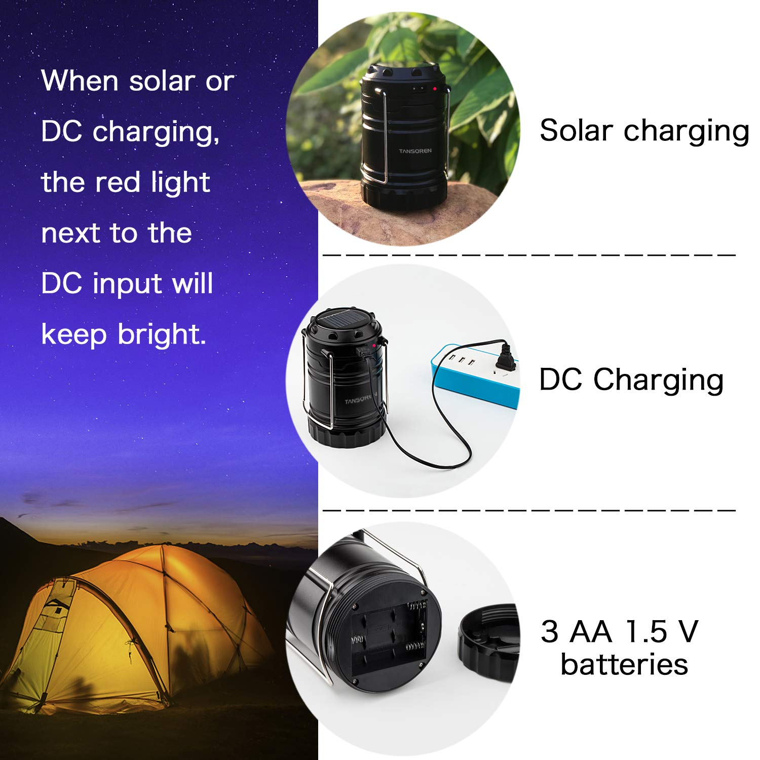 4 Pack Solar USB Rechargeable 3 AA Power Brightest COB LED Camping Lantern with Magnetic Base, Charging for Android, Waterproof Collapsible Emergency LED Light【2018 UPGRADED】 by TANSOREN (Image #3)
