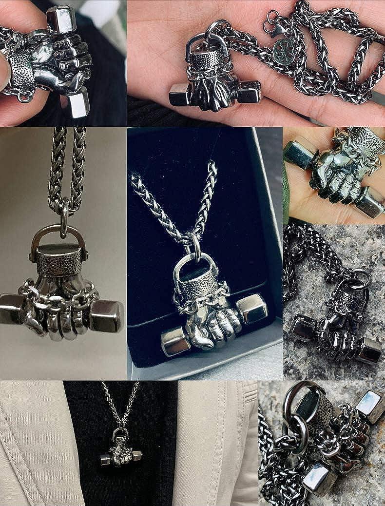 FORFOX Vintage Solid Titanium Steel Dumbbell Pendant Necklace for Men Boys 60cm Chain