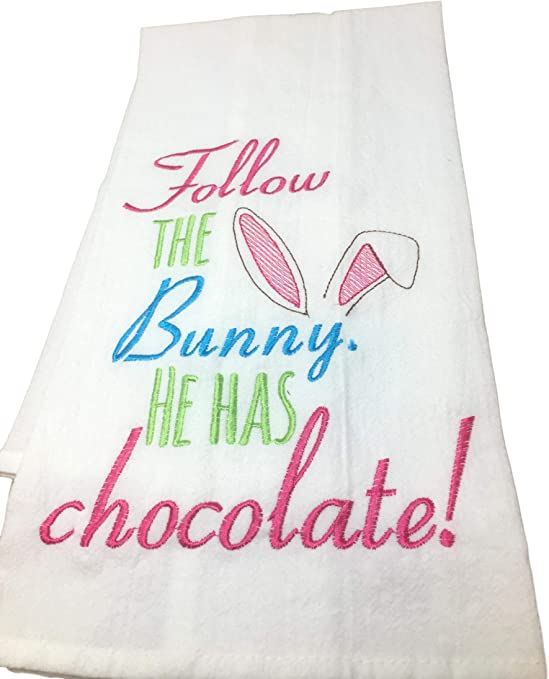 Flour Sack Embroidered Kitchen Towel C /& F Enterprise Follow The Bunny He Has Chocolate