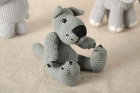 Juguete artesanal tejido a ganchillo peluche para ninos regalo original Lobo