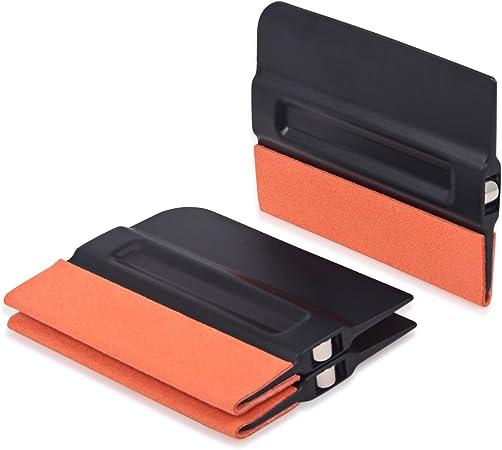 Winjun 3 Stück Autofolie Magnet Rakel Mit Filzkante Folienrakel Filzrakel Für Car Wrapping Folie Tönungsfolie Fensterfolie Werkzeug Schwarz 10cm X 7 5cm Auto