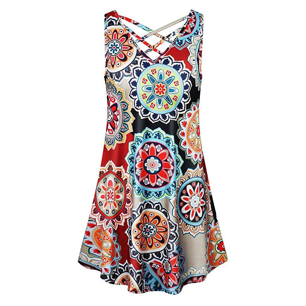 104629b443 Save 15% BBesty Women's Summer Sleeveless V Neck Floral Print Tank Dress  Cross T Shirt Dresses at Amazon Women's Clothing store: