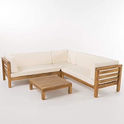 Christopher Knight Home 299117 Ravello 4 Piece Outdoor Acacia Wood Sectional Set W Water Resistant Cushions Teak Finish Beige