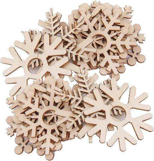 Jili Online Pack of 20 Wooden Shape Snowflake Embellishments for Wedding Scrapbooking Crafts