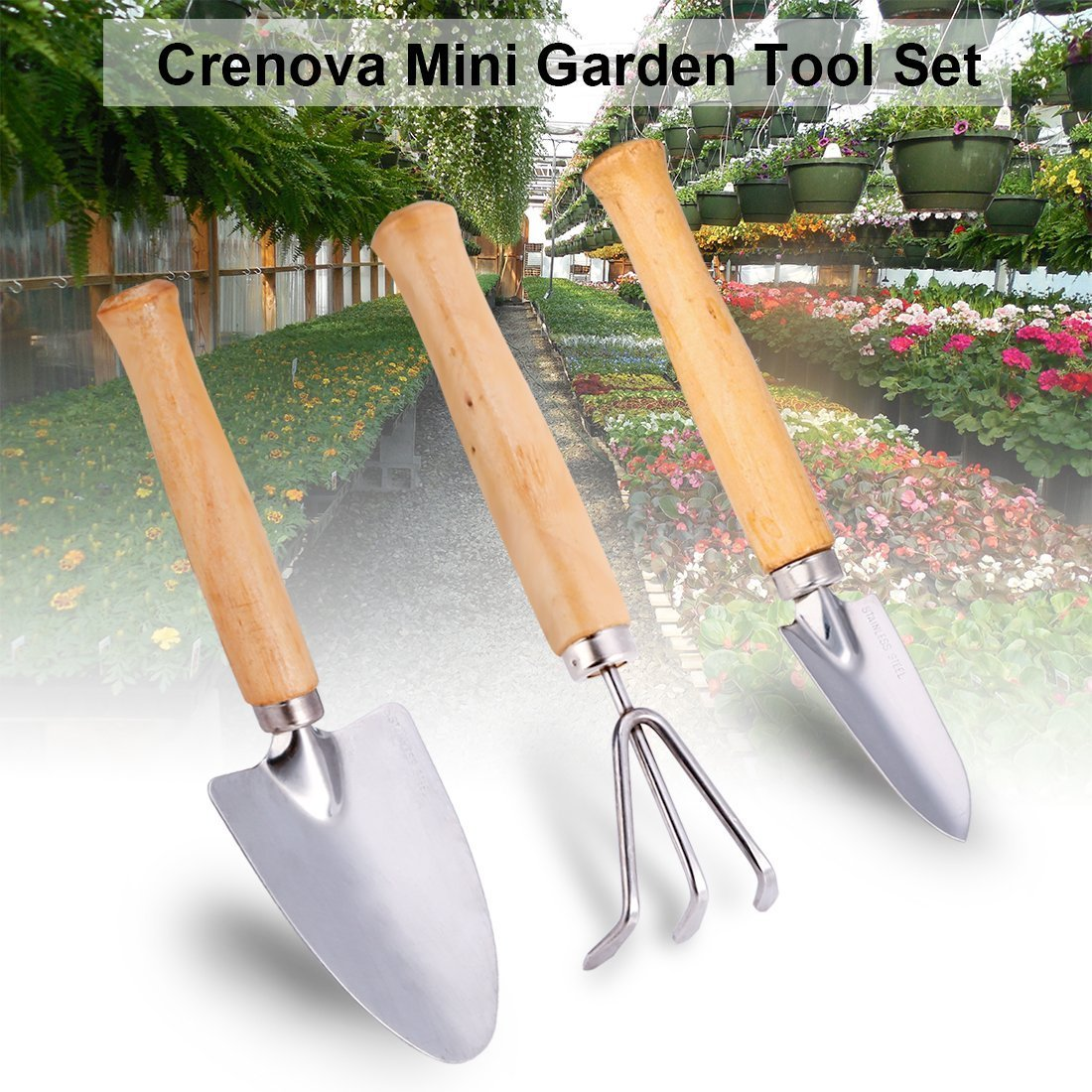 CRENOVA Mini Garden Tool Set, 3 Piece Stainless Steel Heavy Duty Gardening Kit with Solid Wood Non-Slip Handle, 2 Trowels + 1 Rake, Garden Gifts for Men & Women by CRENOVA