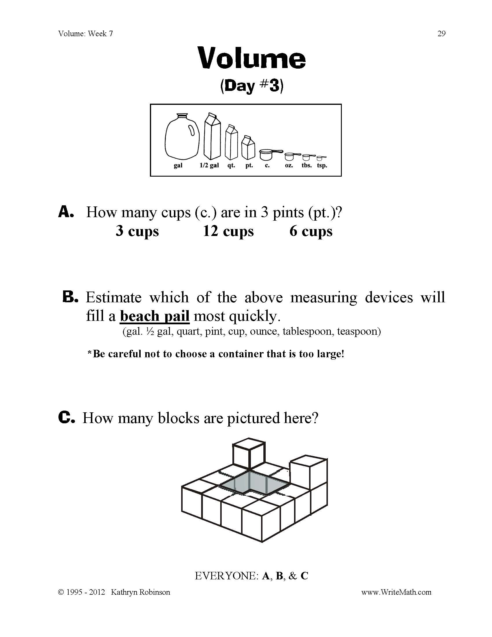 Volume Worksheets Daily 3rd 4th 5th Grade Math Practice Just – Math Volume Worksheets