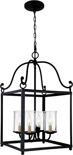 Feiss F2907 4AF Declaration Glass Candle Chandelier Lighting, Iron, 4-Light 15 W x 26 H 240watts