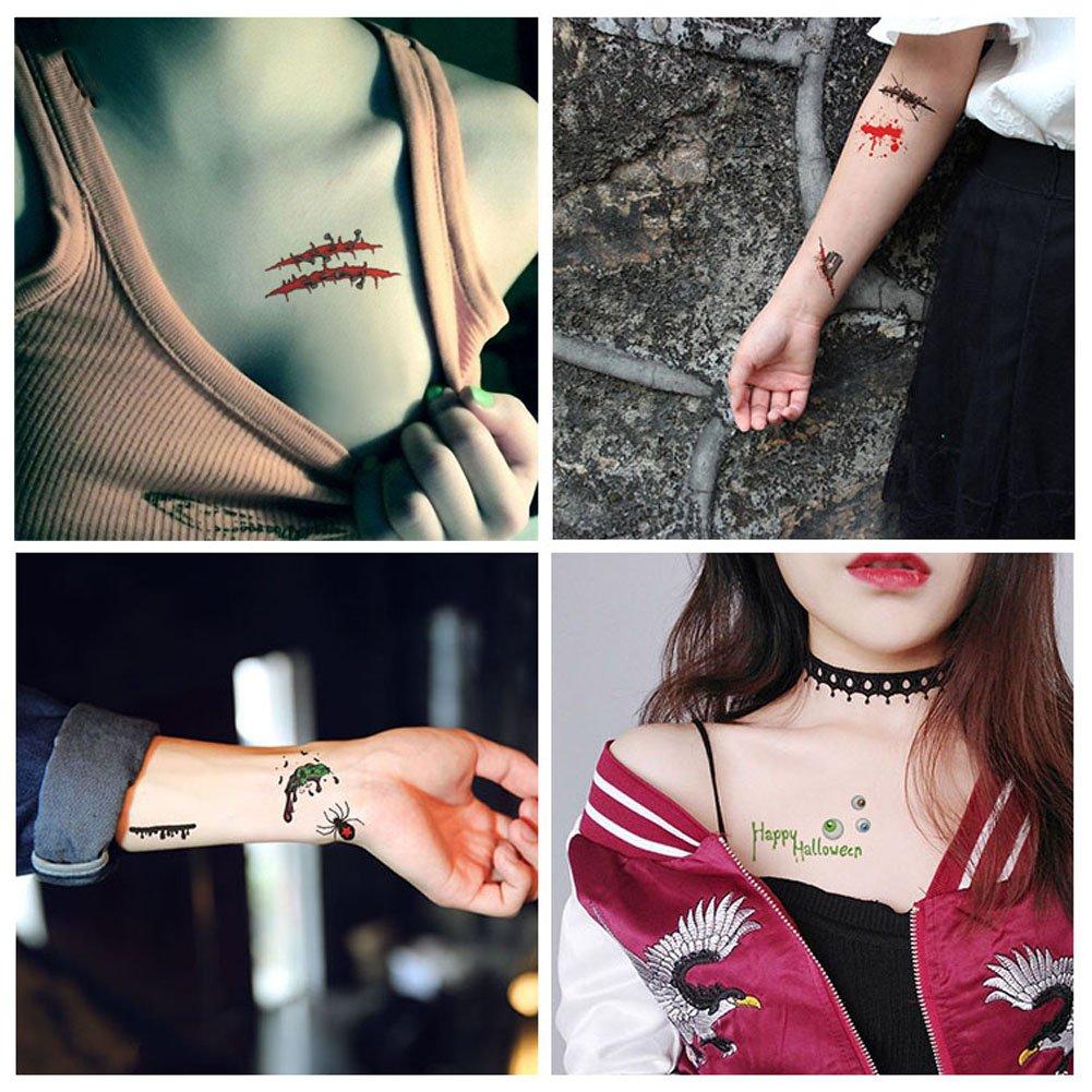 SpringPear 4X Etiqueta Engomada Temporal del Tatuaje del Horror ...