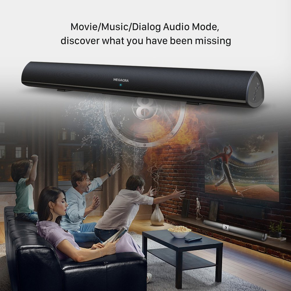 80 Watt Soundbar, MEGACRA TV Sound Bar Wired and Wireless Bluetooth Home Audio Speaker(34 Inch, 3 Audio Modes, IR learning Remote, Dual Connection Methods, Bass Treble Adjustable, 2019 Upgraded Version)
