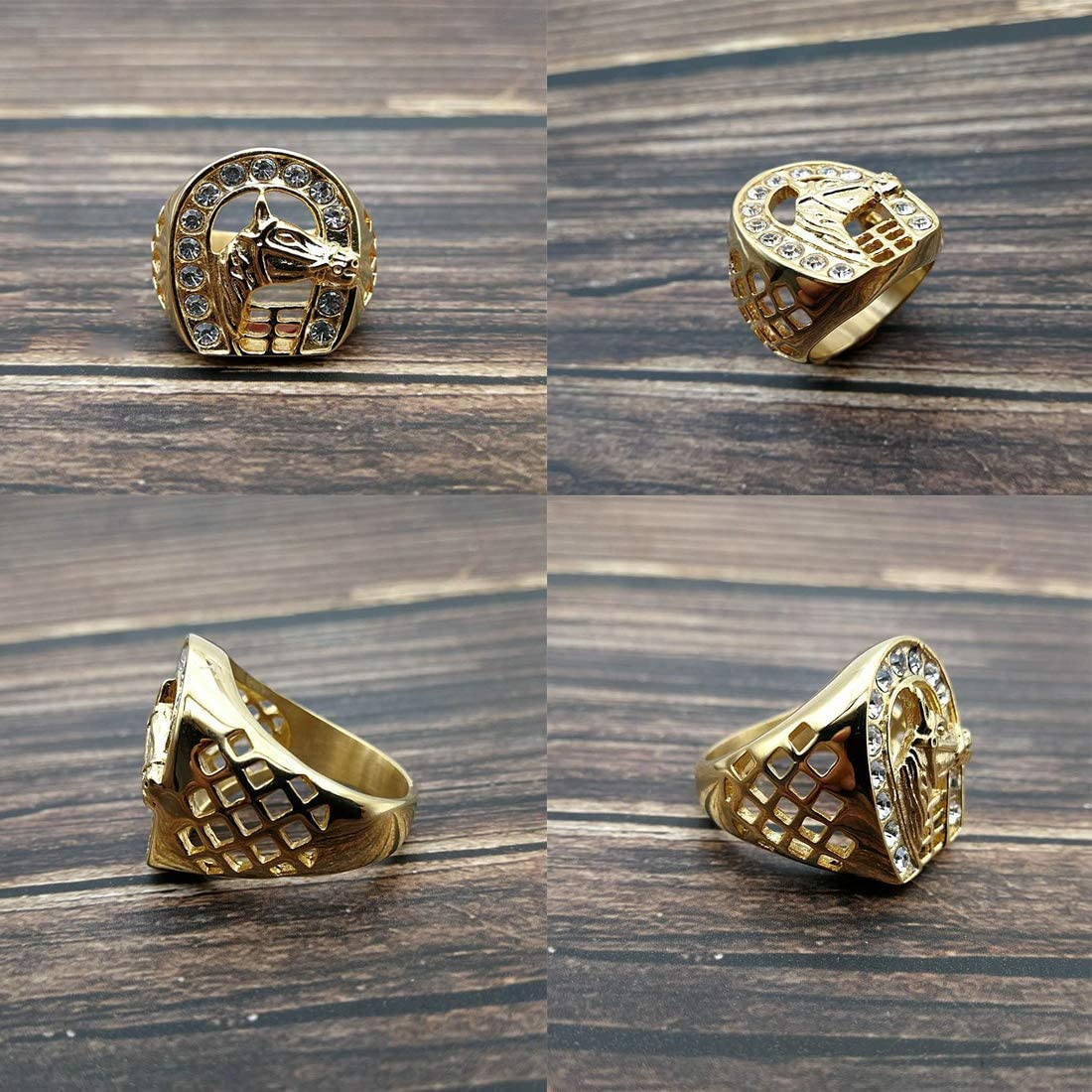 Size. LIANNAO Mens Stainless Steel Rings Horseshoe Horse Inlay Plated Gold Gemstone Cubic Zirconia Rings Men Hiphop Jewellery,Gold