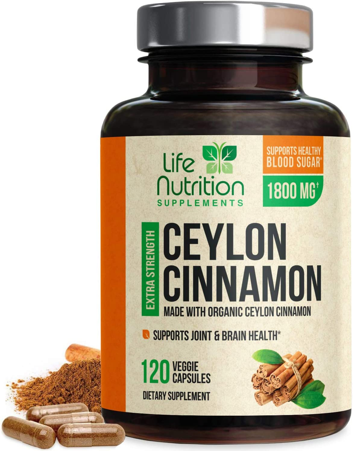 Certified Organic Ceylon Cinnamon (Made with Organic Ceylon Cinnamon) 1800mg - Organic Sri Lanka Ceylon Cinnamon Powder Pills - Made in USA - Best Vegan Blood Sugar Support Supplement - 120 Capsules