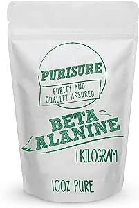 Purisure Beta Alanine Powder 1kg (1,334 Servings) – Bulk Pre Workout Nutrition – Unflavored Supplement
