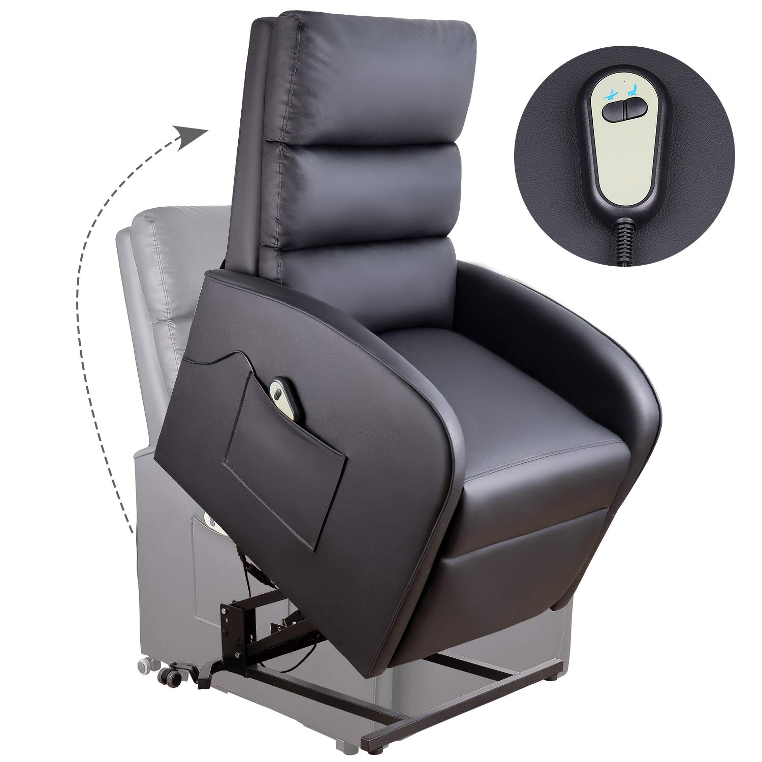 Homall Electric Power Lift Recliner Chair Sofa PU Leather Home Recliner for Elderly Classic Lounge Chair Living Room Chair with Safety Motion Reclining Mechanism(Black)