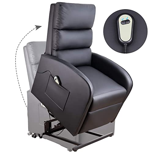 Homall Electric Power Lift Recliner Chair Sofa PU Leather Home Recliner for Elderly Classic Lounge Chair Living Room Chair with Safety Motion Reclining Mechanism Black