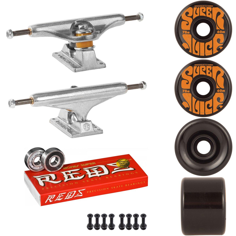 スケートボードキットIndy 169 Trucks OJスーパージュース60 mm 78 aホイールブラックSuper Reds   B07D1B6SLB