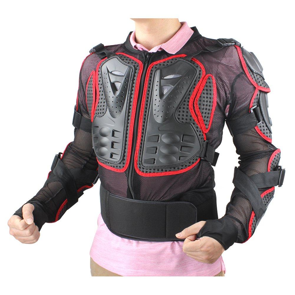 2XL, Rosso GES Moto Protezione armatura da motocicletta Indumenti di Protezione Corpo Armatura Completa Moto Professionale Sportivo per gli uomini abbigliamento protettivo da corsa