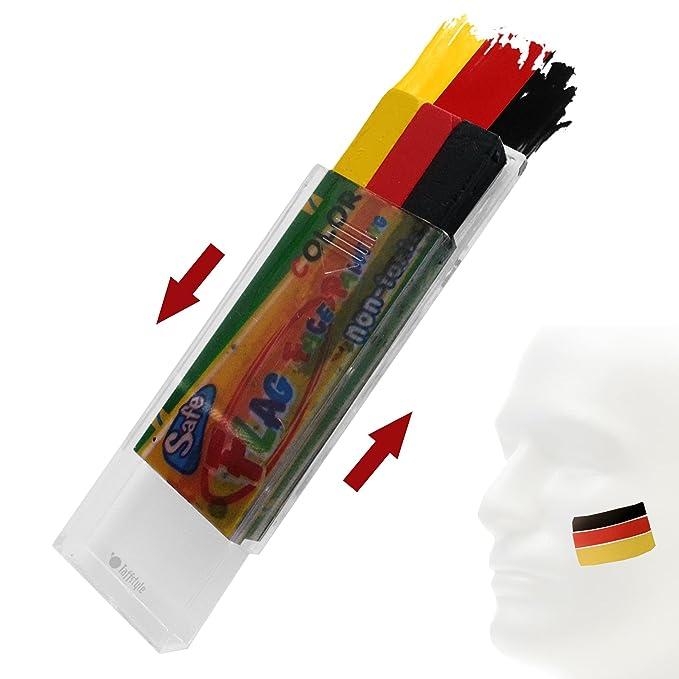 Taffstyle/® Fanartikel Schminkstift Fan Make-Up Fanschminke mit Fussball Weltmeisterschaft WM /& EM Europameisterschaft 2016 L/änder Flaggen Style Deutschland