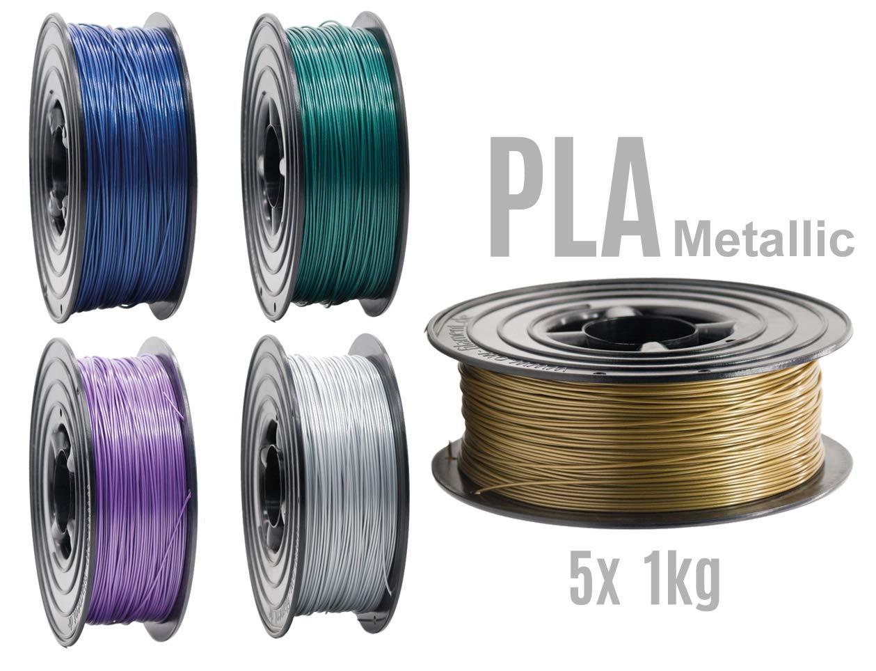 Filamento PLA para impresora 3D, 1,75 mm, 5 rollos de 1 kg, 5 ...