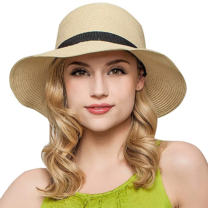 b032403655102 Packable Sunhat Straw Sunhat Women Summer Beach Wide Brim Travel Hat UPF50+ Cute  Sun Hats for