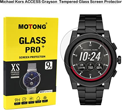 MOTONG Tempered Glass Screen Protectors for Michael Kors Access Mens Grayson Watch,9 H Hardness,0.3mm Thickness,Made from Real Glass