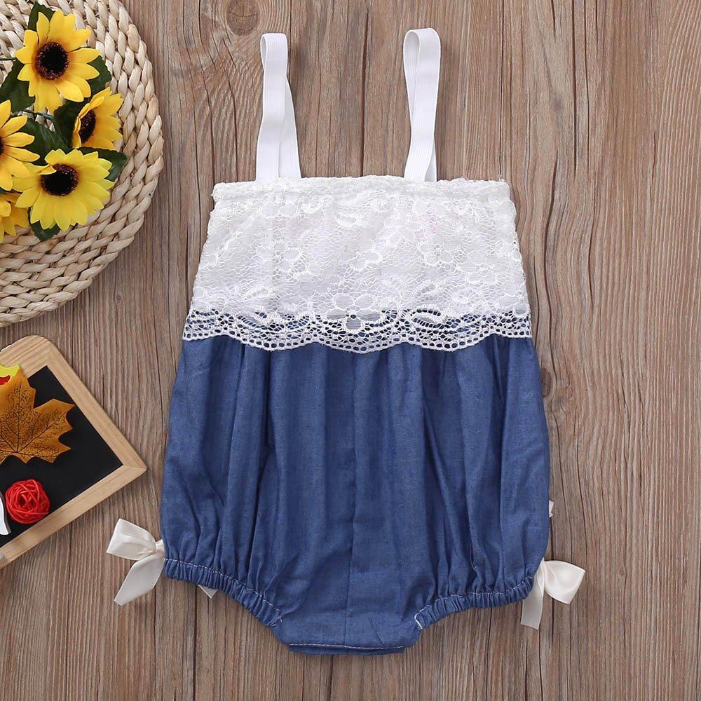 Gonxifacai Romper Jumpsuit Infant Baby Girls Cute Sleeveless Lace Straps Bowknot Vest Clothes