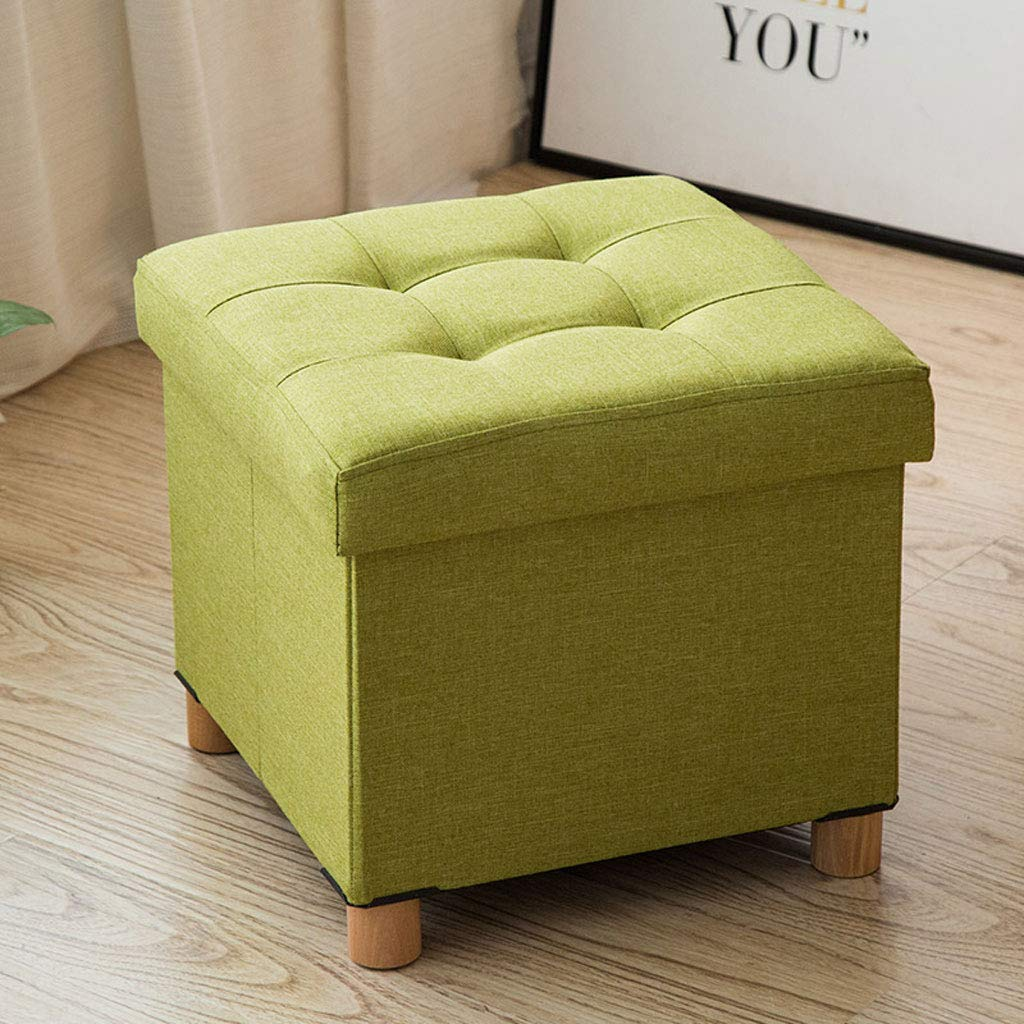 Couleur : Green 38 x 38 x 35 cm Poufs repose-pieds poufs pliants Pieds en bois Poufs en lin Tabouret de si/ège pouf max 150kg
