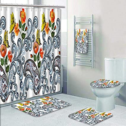 PRUNUSHOME 5 Piece Bathroom Set  Wide Border With Blue Paisley Orange Red  Roses And