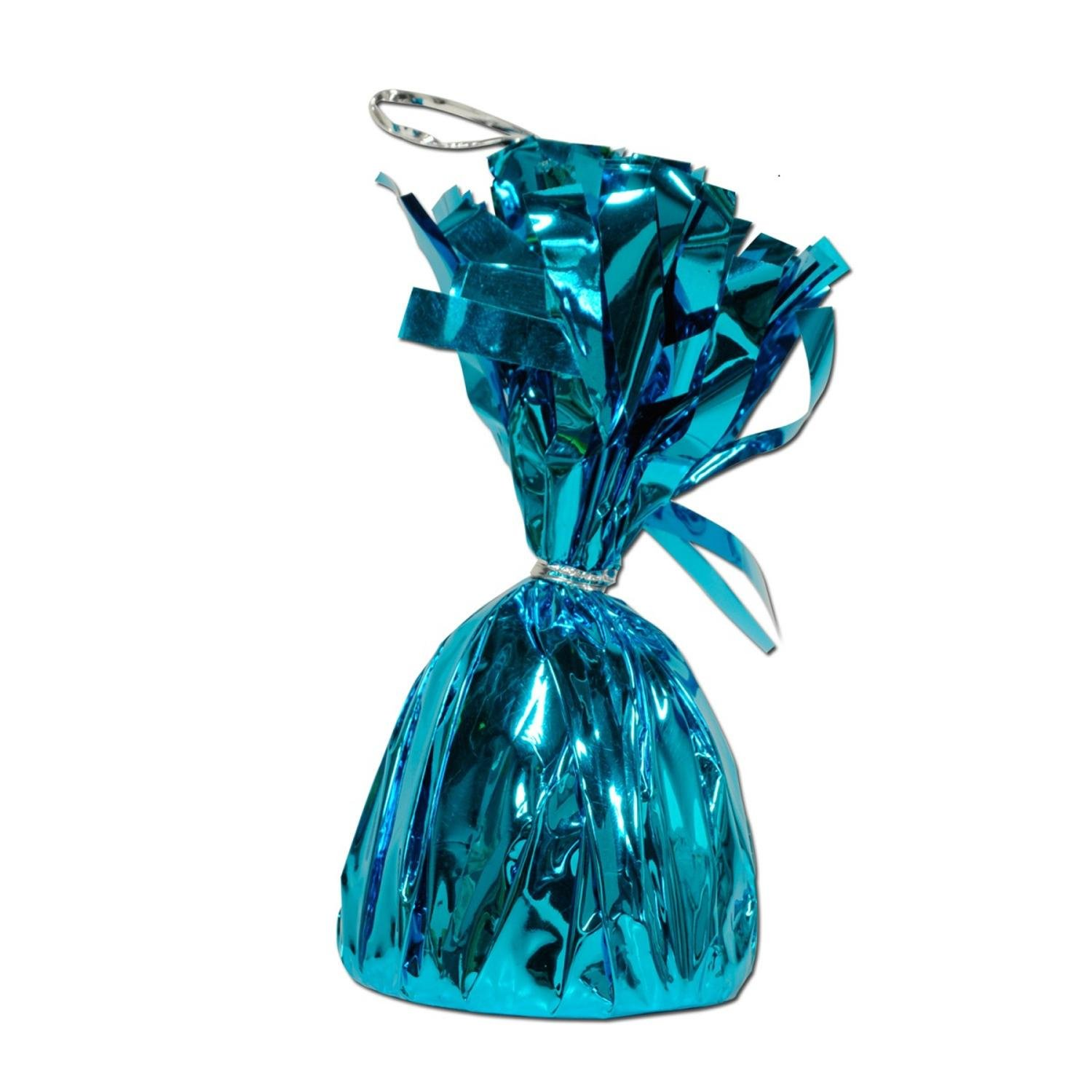 Club Pack of 12 Metallic Turquoise Party Balloon Weight Decorative Birthday Centerpieces 6 oz.