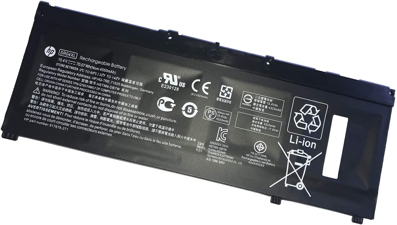 HP SR04XL 15.4V 70.07Wh Notebook Battery for HP Pavilion Power 15-CB000 OMEN by HP 15-CE000 15-DC0000 17-CB0000 PN : 917678-271 917724-855 917678-1B1 917678-2B1 HSTNN-IB7Z HSTNN-DB7W