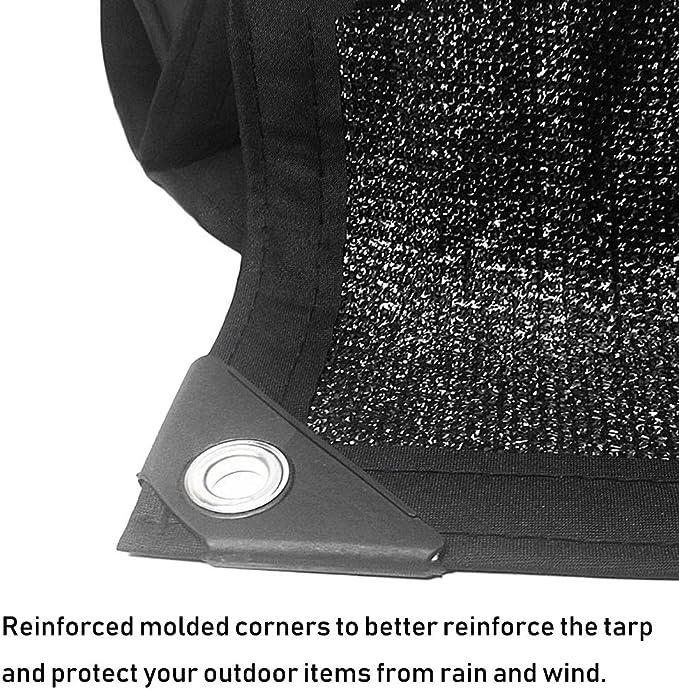 Red de Sombra Borde Tapado En Tela De Cortina De Protección Solar Negra con Ojales, 90% Malla De Malla De Malla UV, Ideal For El Patio De Pérgola Almacén De Piscina For