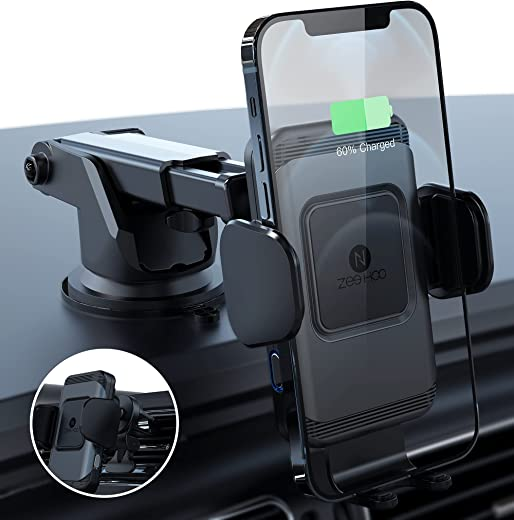 Wireless Car Charger,10W Qi Fast Charging Auto-Clamping Car Mount,Windshield Dash Air Vent Phone Holder