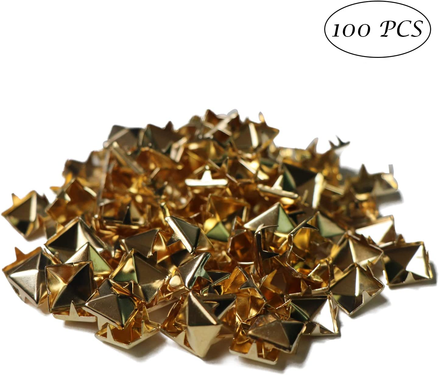 Gold SPWOLFRT 100PCS 10mm Pyramid Shaped Punk Rivet Studs Square DIY Pins Spots Spikes Nailhead for Leathercraft /& Belts
