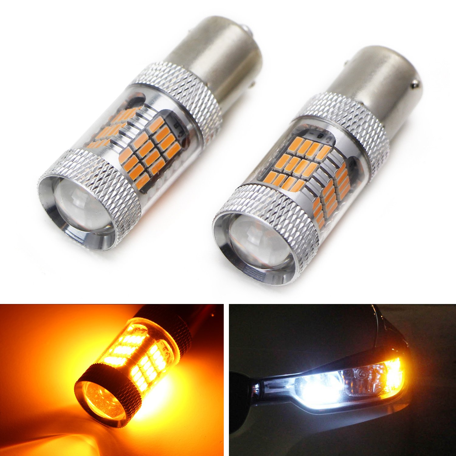 Ijdmtoy Amber Yellow 54 Smd 7507 Py21w Canbus Led 2x 1156 7506 P21w Ba15s 7527 Light Bulb Wire Wiring Harness Socket Replacement Bulbs For F22 F30 F32 2 3 4 Series Front Turn Signal Lights Automotive