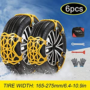 soyond Car Tire Snow Chains - Emergency Anti Slip Adjustable Traction Upgraded TPU Tire Chain, for SUV ATV Truck Winter Universal Tire (Yellow)