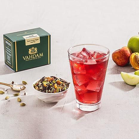 Vahdam Pfirsich Gruner Apfel Eistee 40 Portionen 8 Quarts 100
