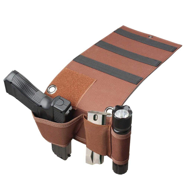 Adjustable Bedside Couch Under Mattress Bed Car Pistol Gun Holster Holder Universal with Magazine Flashlight,Brown