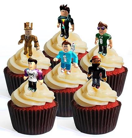 Amazoncom 12 Roblox Character Boy Precut Edible Cupcake Toppers