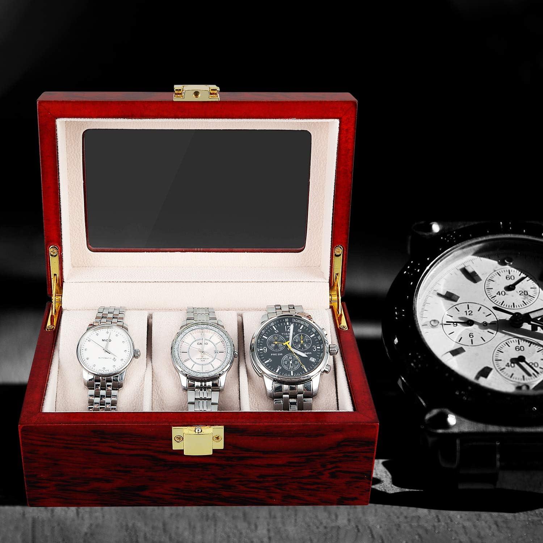 Caja para Relojes de Madera Estuche para Relojes y joyeros con 3 Compartimentos: Amazon.es: Relojes