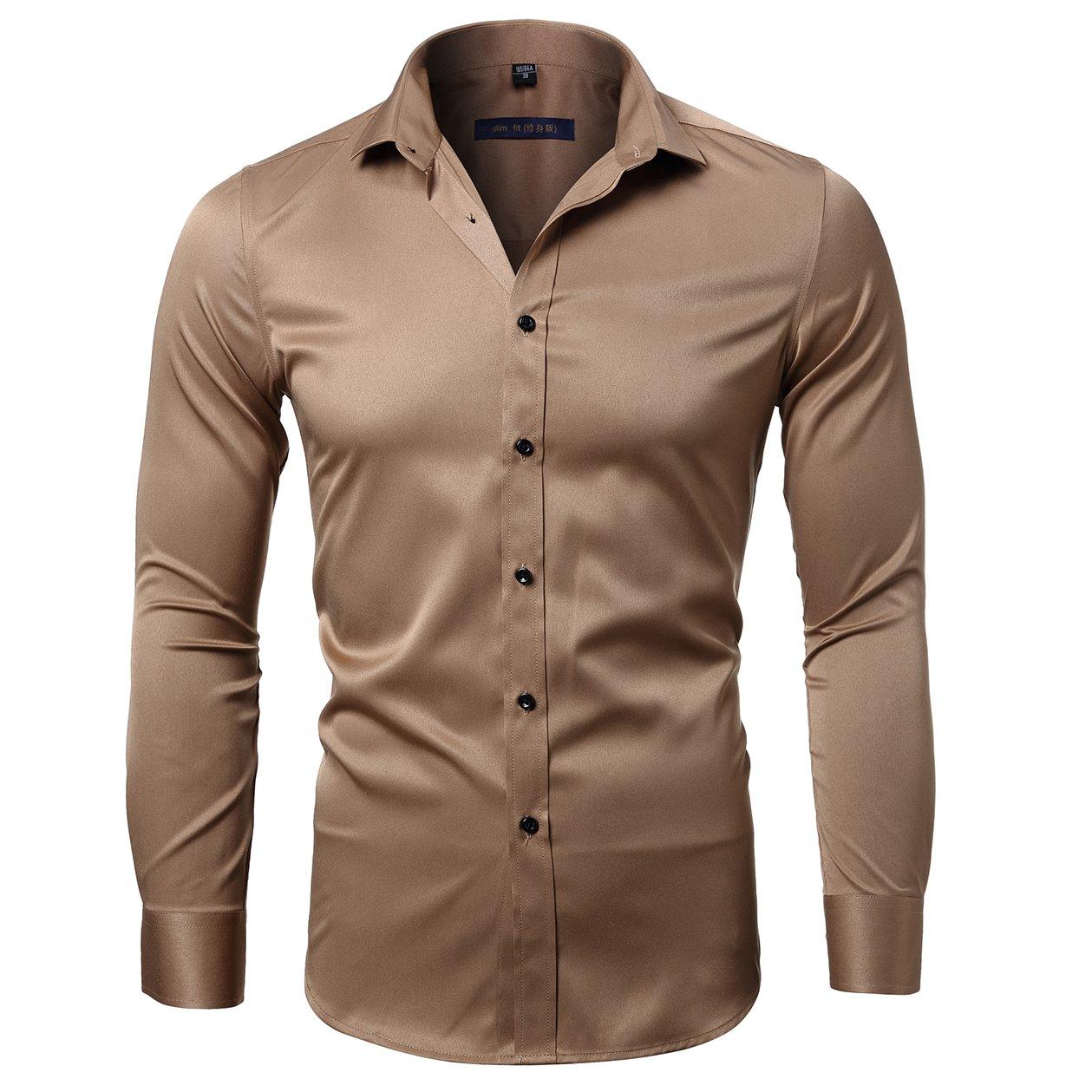 TALLA 44/Cuello 44CM --Pecho 121CM. KelaSip Camisa para Hombres Transpirable Manga Larga Color Sólido para Hombres Slim Fit Formales/Casual Camisas Negocios Clásico Bambú Fibra Camisa Tops Blusa para Hombres,7 Tamaños 5 Colores