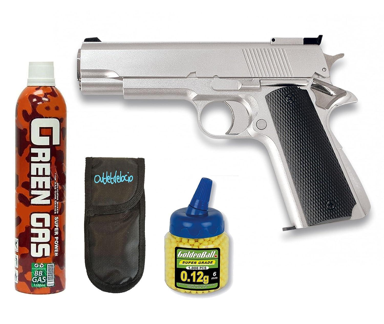 Pack Pistola airsoft HFC G16 plata. Funcionamiento por gas. Calibre 6mm. + Gas + 1000 bolas + Funda Portabolas. 18398/21993/23054 Martinez