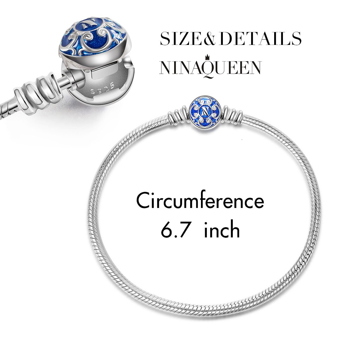 NinaQueen 925 Sterling Silver Snake Chain Pandöra Bracelet for Women with Blue Clasp Charms 6.7 Inches Jewelry Birthday Anniversary Gifts for Her Girlfriend Niece Friends Sisters Daughter Wife Teen Gi by NINAQUEEN (Image #1)