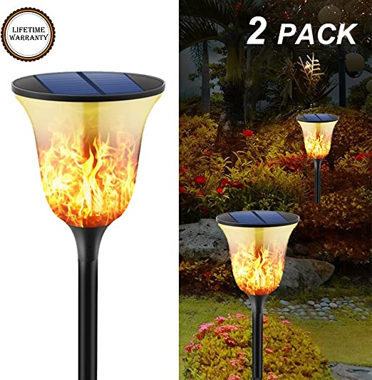 yiiyaa Lámpara de Césped LED de Energía Solar Iluminación Exterior Luces Farola de Paisaje Forma Antorcha