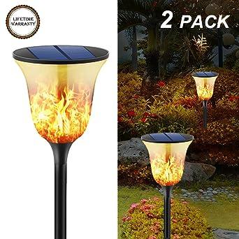 2er Pack 96 LED Solarlicht Weg Fackel Flamme Flackernd Beleuchtung Lampen Garten