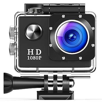 Cámara Deportiva LILIKU Cámara Acción Impermeable Full HD 1080P Sumergible hasta 30m con Pantalla LCD de 2-Pulgadas 140 Gran Angular y Accesorios ...