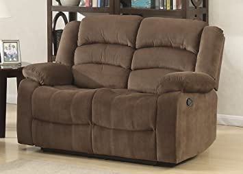 Phenomenal Ac Pacific Bill Collection Modern Fabric Upholstered Living Room Reclining Loveseat With Padded Pillow Top Armrests Brown Alphanode Cool Chair Designs And Ideas Alphanodeonline