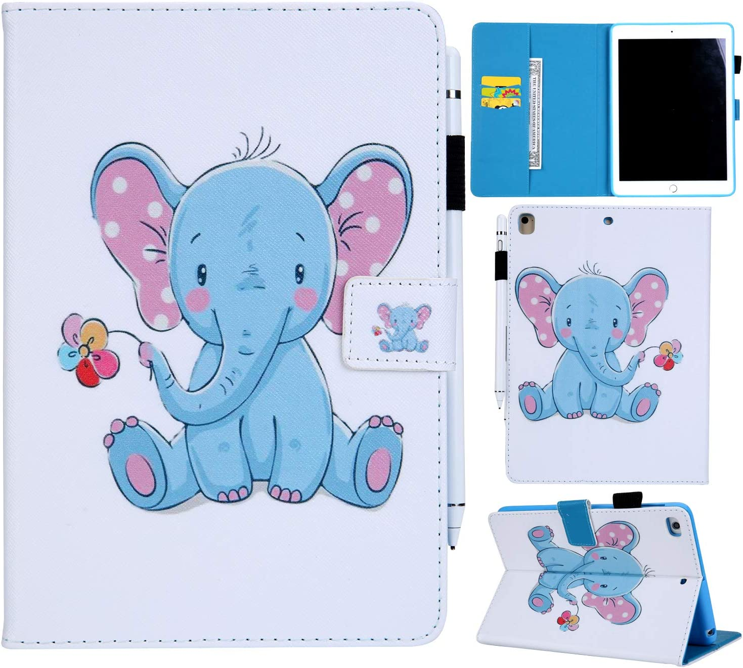 YKTO PU Leather Folio Stand Cover for Apple iPad 9.7 2018//2017 Full Body Wallet Shockproof Drop Resistance Bumper Protective Case Cute Cartoon Baby Elephant Animal Tablet Case iPad 6, iPad 5