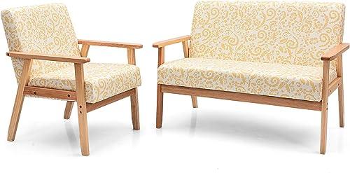 Giantex Mid-Century Wooden Loveseat Accent Chair Set