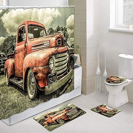Old truck car in Farm Yard Bathroom Mat Floor Door Carpet Shower Rug Non Slip