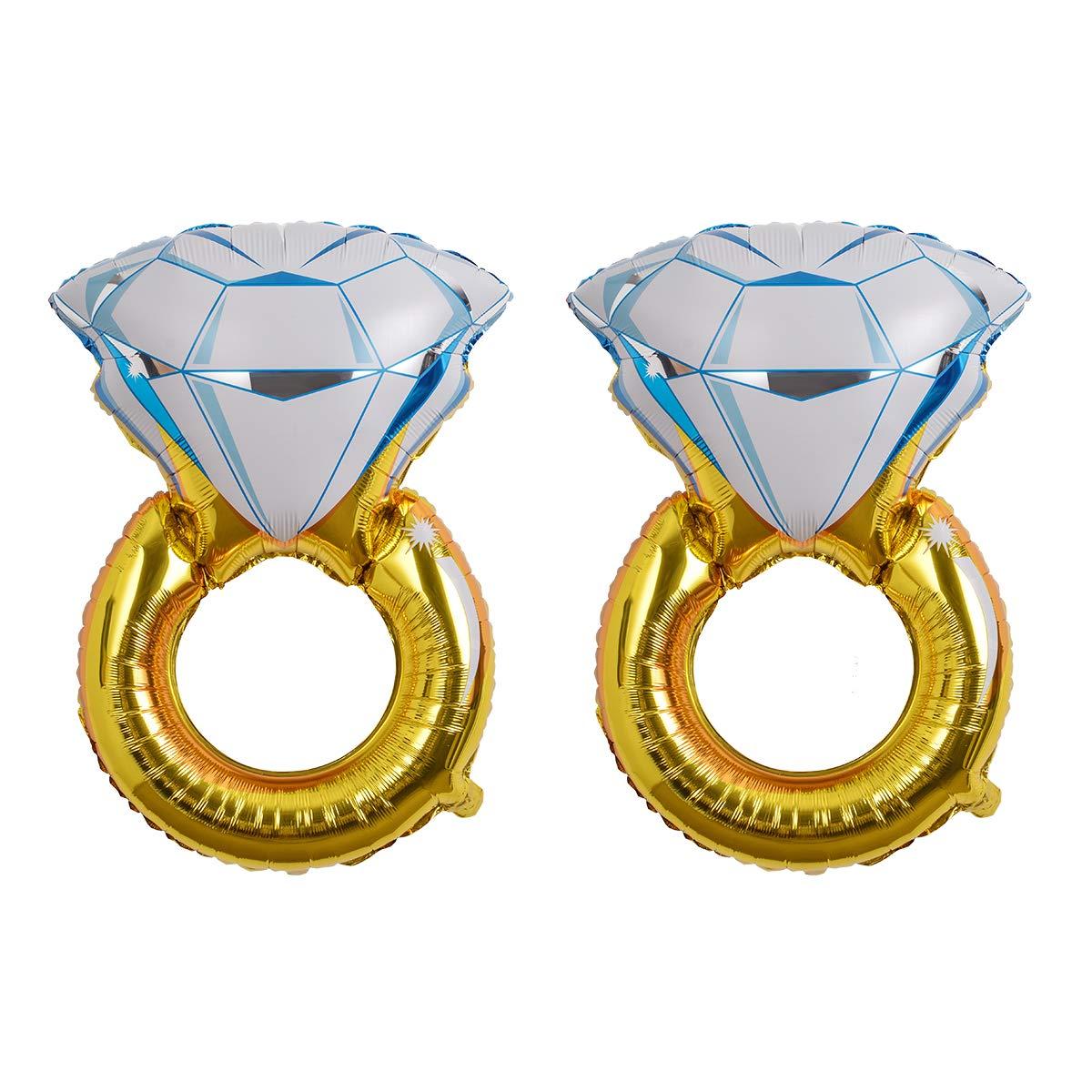Junggesellenabschied Hochzeitsdekoration 2 Teile // Satz Hivexagon Giant Diamond Ring Folienballons f/ür Junggesellenabschied HP042 Gold Farbe Verlobungsfeier