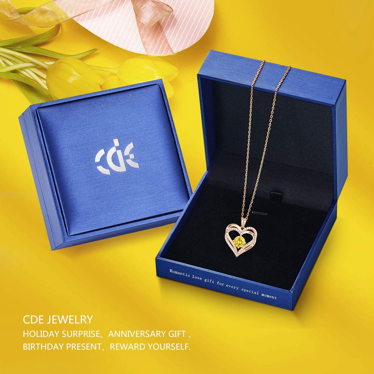 CDE Forever Love Coeur Collier 925 En Argent Sterling Plaqu/é Or Rose Pierre de Naissance Pendentif Colliers pour Femmes avec 5A Zircon Cubique Bijoux Cadeau Danniversaire
